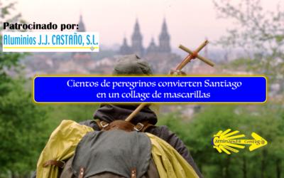 Cientos de peregrinos convierten Santiago en un collage de mascarillas